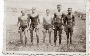 Group of young swimmers circa 1933, Krakow Poland.
