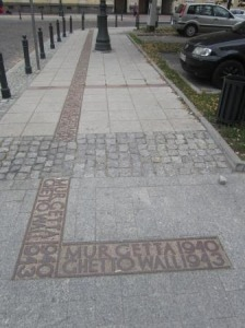 Modern day outline of the Warsaw Ghetto Wall