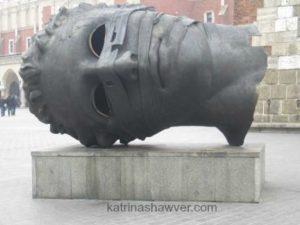 head sculpture in Krakow  web size watermark