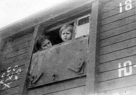 Polish children in boxcar