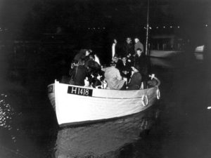 TO GO WITH AFP STORY BY Sören BILLING (FILES) This 1943 photo shows a boat carrying people during the escape across the Oresound of some of 7,000 Danish Jews who fled to safety in neighbouring Sweden as Denmark three years after the German Nazi invasion. As Denmark commemorates the heroic rescue of the vast majority of its Jewish population during World War II, the country faces difficult questions over its relationship with Nazi Germany. AFP PHOTO / SCANPIX DENMARK +++ DENMARK OUT