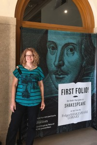 Katrina Shawver at the Entrance to First Folio Exhibit