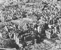 Aerial View of a destroyed Warsaw, January 1945