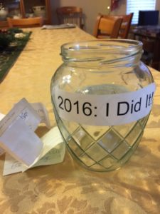 "PHoto of ""I Did It"" jar for 2016"
