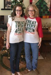 Katrina Shawver and daughter Jamie, Christmas 2015