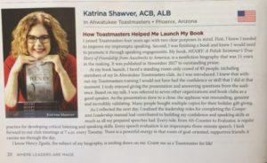 Katrina Shawver - Toastmasters International Magazine June 2018