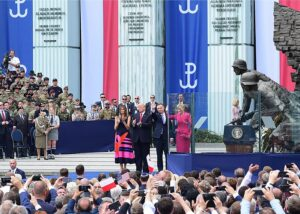 Presidents Donald Trump and Andrzej Duda at the Warsaw Uprising Monument, 2017